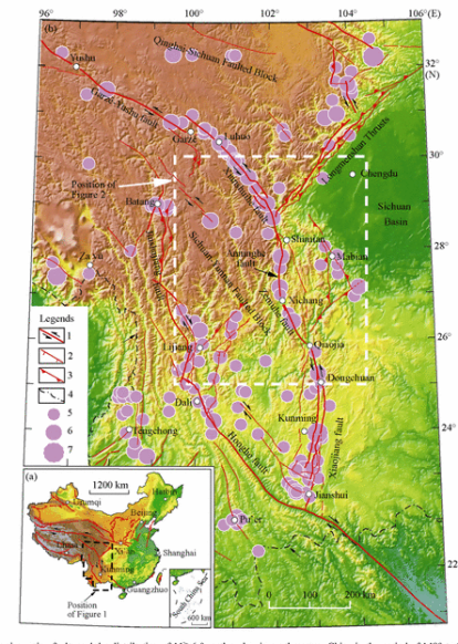 A map of major active faults and the distribution of magnitude 6-plus earthquakes in southwestern China in the period of 1480 to 2007. [Click on map to go to page excerpt from this Science China Earth Sciences article].