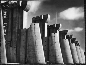 Margaret Bourke-White's iconic 1936 Life magazine cover shot of the still under construction spillway at Fort Peck Dam – the very first cover of the magazine.