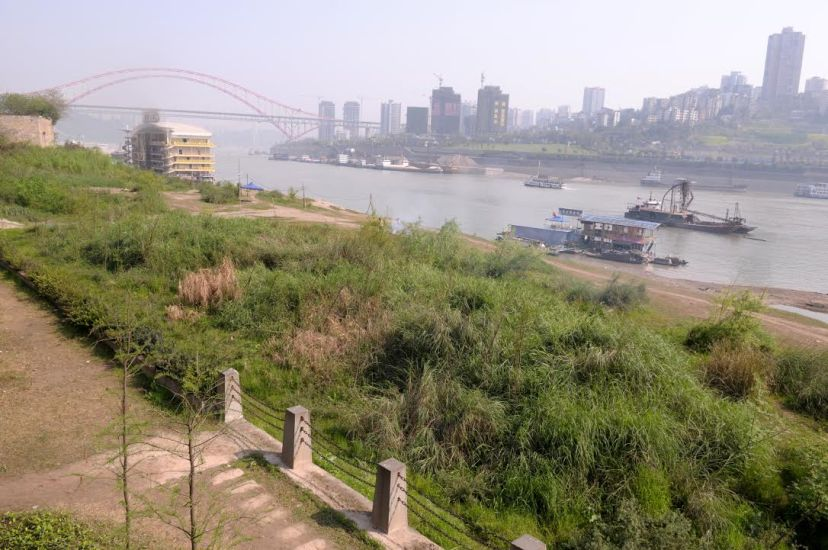 The trial project to recover vegetation along the reservoir's drawdown zone in the Jiangbeizui area in urban Chongqing, by Fan Xiao, April 2012.