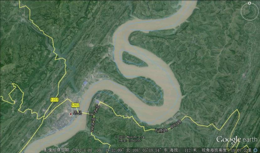 The so-called Lanniwan is the channel on the north side of Huanghua Island, located 8 km downstream of the county  seat of Zhongxian (the capital of Zhongxian County), which divides the Yangtze River in two (from Google Earth, on April 10, 2013).