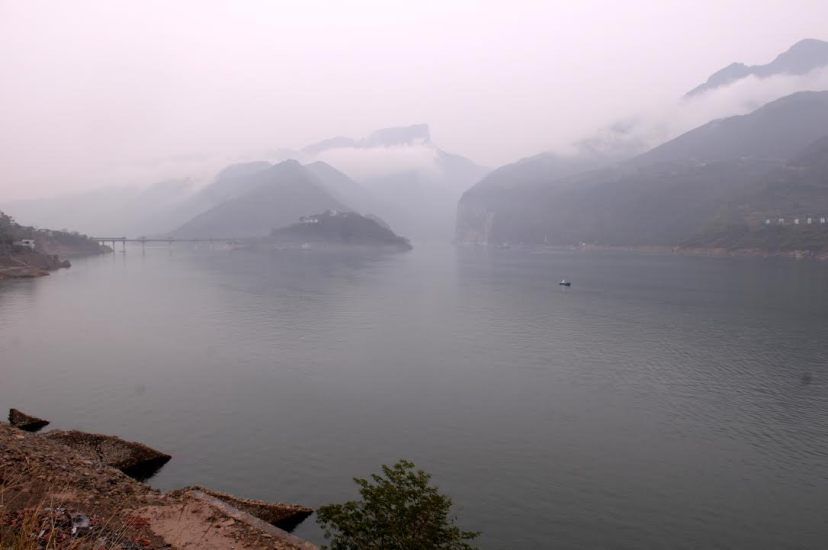 The reservoir bay near the Kuimen in the Qutang Gorge (in Fengjie County), one of the most famous attractions in the reservoir area, by Fan Xiao, March 2012.