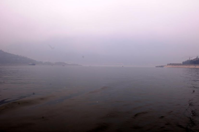 The reservoir bay where the Daning River joins the Yangtze River, by Fan Xiao, March 2012.