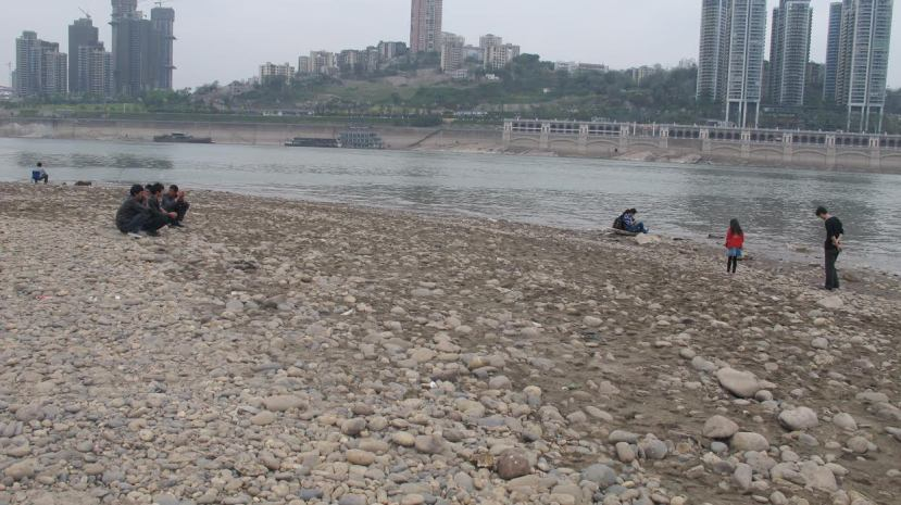 Gravel dominated the mudflats in the confluence of the Jialing and Yangtze rivers, by Fan Xiao, March 2013.