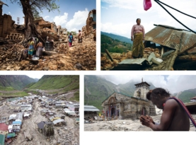Earthquakes in the Himalayas (Nepal, top row) could fracture dams and lead to disaster scenarios like those seen in the Indian town of Kedarnath, when monsoon rains in 2013 caused a lake to burst its borders (bottom row). LORENZO MOSCIA Redux Pictures (top left); BULENT DORUK Getty Images (top right); GETTY IMAGES (bottom left); CORBIS (bottom right).