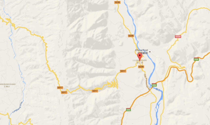 Map 1: The Lujiangba Township, of which Xinzhai Village is a part, is located between the Salween River and Gaoligongshan Mountain. See the zigzag mountain road to the west that runs through Gaoligong. (Google Map)